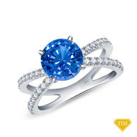 14K White Gold Dual Band Accent Diamond Engagement Ring Blue Sapphire Top View