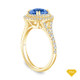 14K Yellow Gold Antique Scroll Halo Style Engagement Ring Blue Sapphire Top View