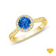 14K White Gold Enchanting Hexagonal Halo Accent Ring Blue Sapphire Finger View