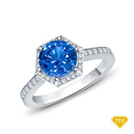 14K White Gold Enchanting Hexagonal Halo Accent Ring Blue Sapphire Top View