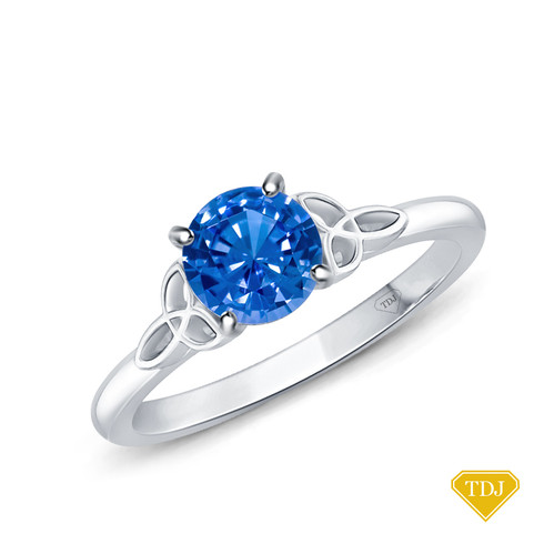 14K White Gold Romancing Love Knot Diamond Solitaire Ring Blue Sapphire Top View