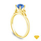 14K Yellow Gold Cascade Waves Style Engagement Ring Blue Sapphire Top View