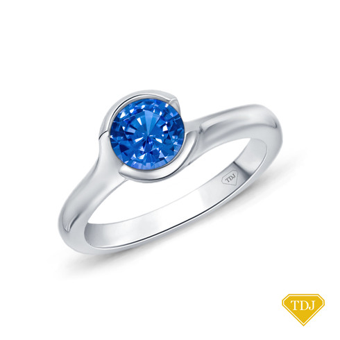 14K White Gold Cascade Waves Style Engagement Ring Blue Sapphire Top View