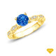 14K White Gold Dual Side Bar Pave Accents Engagement Ring Blue Sapphire Finger View