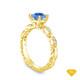 14K Yellow Gold Dual Side Bar Pave Accents Engagement Ring Blue Sapphire Top View