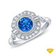 14K White Gold Baguette & Round Accents Antique Diamond Engagement Ring Blue Sapphire Top View