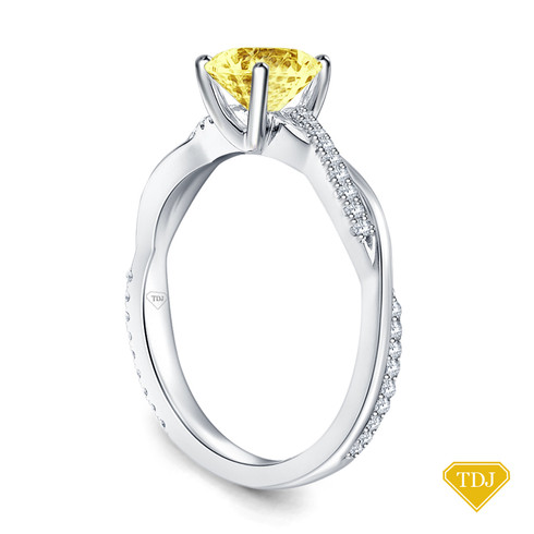 14K White Gold Twisted Vine Diamond Engagement Ring Yellow Sapphire Top View