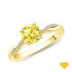 14K White Gold Antique Scroll Engraving Engagement Ring Yellow Sapphire Finger View