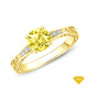 14K White Gold Delicate Tapered Pave Set Engagement Ring Yellow Sapphire Finger View