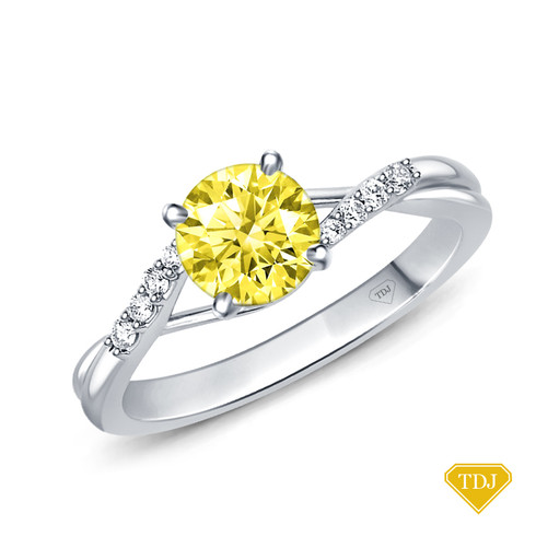 14K White Gold Delicate Tapered Pave Set Engagement Ring Yellow Sapphire Top View