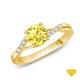 14K White Gold A Contemporary Interwine Ribbon Diamond Solitaire Ring Yellow Sapphire Finger View
