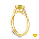 14K Yellow Gold A Contemporary Interwine Ribbon Diamond Solitaire Ring Yellow Sapphire Top View