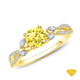 14K White Gold Marquise Yellow Sapphire Accents - Leaves  and Vine Style Engagement Ring Yellow Sapphire Finger View