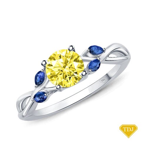 14K White Gold Marquise Yellow Sapphire Accents - Leaves  and Vine Style Engagement Ring Yellow Sapphire Top View