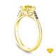 14K Yellow Gold Half Way Accents Diamond Engagement Ring Yellow Sapphire Top View