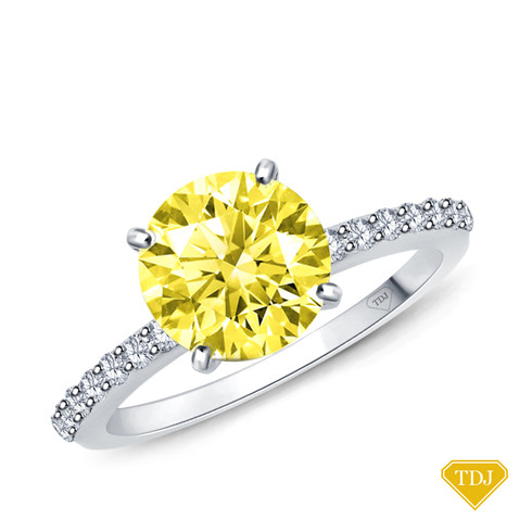 14K White Gold Half Way Accents Diamond Engagement Ring Yellow Sapphire Top View