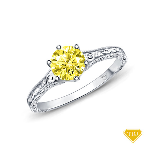 14K White Gold A Truly Vintage Hand Engraved Milgrain Engagement Setting Yellow Sapphire Top View
