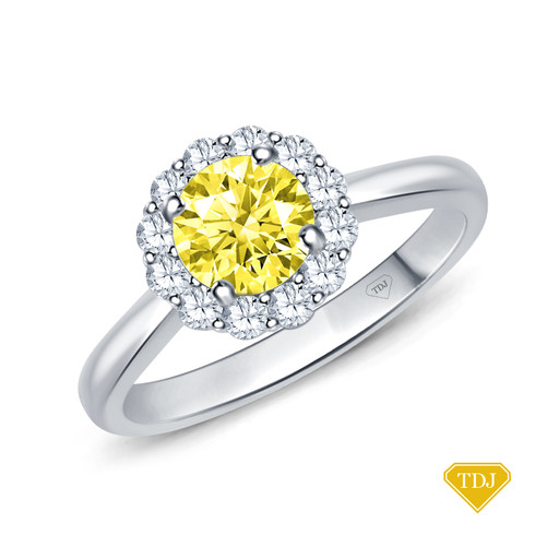 14K White Gold Intricate Flower Design Halo Engagement Ring Yellow Sapphire Top View