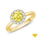 14K White Gold Flower Inspired Halo Accents Engagement Ring Yellow Sapphire Finger View