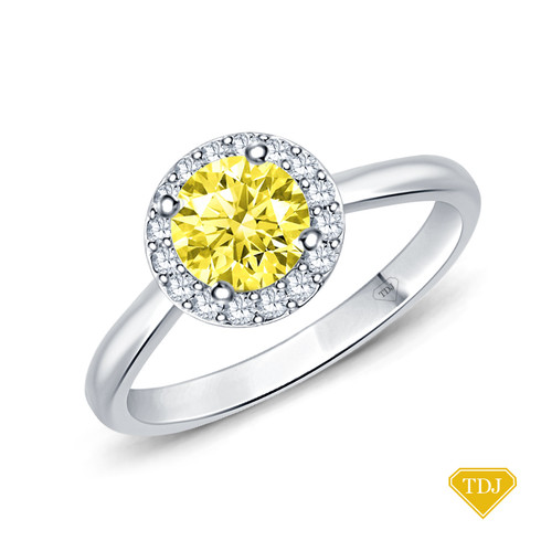 14K White Gold Flower Inspired Halo Accents Engagement Ring Yellow Sapphire Top View
