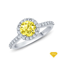 14K White Gold A Beautiful Halo Diamond Engagement Ring Yellow Sapphire Top View