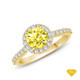 14K White Gold An Intricate Antique Vintage Syle Diamond Engagement Ring Yellow Sapphire Finger View