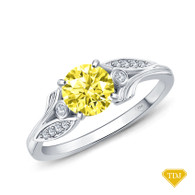 14K White Gold Leaves Inspired Accent Diamond Engagement Ring Yellow Sapphire Top View