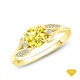 14K White Gold Cathedral Pave Diamond Engagement Ring Yellow Sapphire Finger View