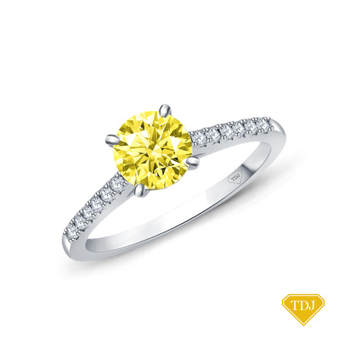 14K White Gold Cathedral Pave Diamond Engagement Ring Yellow Sapphire Top View