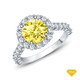 14K White Gold Lotus Flower Halo Style Engagement Ring Yellow Sapphire Top View