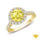 14K White Gold An Antique Scroll Design Three Stone Engagement Ring Yellow Sapphire Finger View