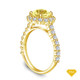14K Yellow Gold An Antique Scroll Design Three Stone Engagement Ring Yellow Sapphire Top View