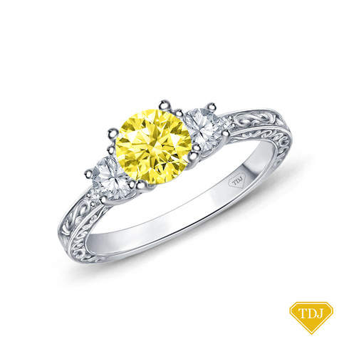 14K White Gold An Antique Scroll Design Three Stone Engagement Ring Yellow Sapphire Top View