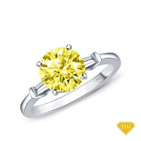 14K White Gold Tapered Style Baguette Side Stones Engagement Ring Yellow Sapphire Top View