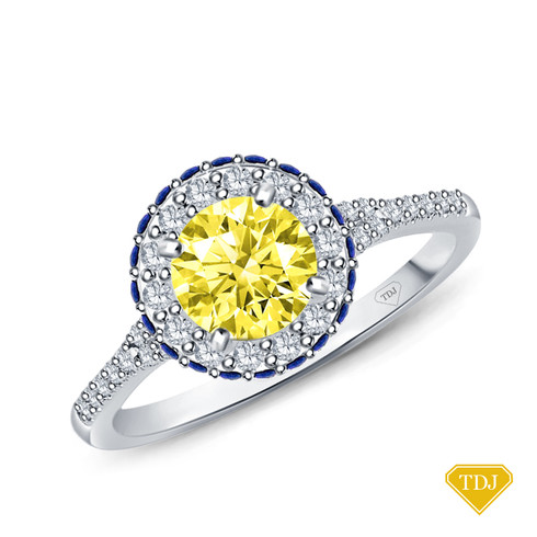 14K White Gold Vibrant Sapphires and Halo Diamond Accents Setting Yellow Sapphire Top View
