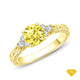 14K White Gold Diamond Accents Set in a Split Shank Setting Yellow Sapphire Finger View