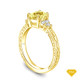 14K Yellow Gold Diamond Accents Set in a Split Shank Setting Yellow Sapphire Top View