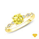 14K White Gold Halo Accents With Intricate Milgrain Design Setting Yellow Sapphire Finger View