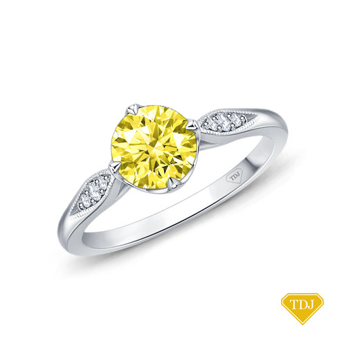 14K White Gold Milgrain Detail Flower Diamond Engagement Ring Yellow Sapphire Top View
