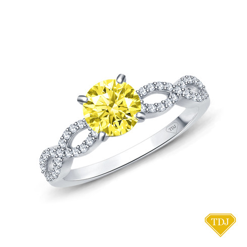 14K White Gold A Twisted Spirals With Accents Setting Yellow Sapphire Top View