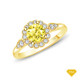 14K White Gold Split Shank Octagenol Double Halo Accents Setting Yellow Sapphire Finger View