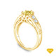 14K Yellow Gold Detailed Scroll Timeless Accents Engagement Ring Yellow Sapphire Top View