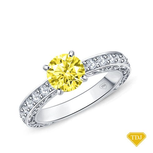 14K White Gold Detailed Scroll Timeless Accents Engagement Ring Yellow Sapphire Top View