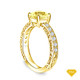 14K Yellow Gold Vintage Inspired Petals Floral Setting Yellow Sapphire Top View