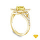 14K Yellow Gold Emerald Sapphire Accents Milgrain Design Vintage Ring Yellow Sapphire Top View
