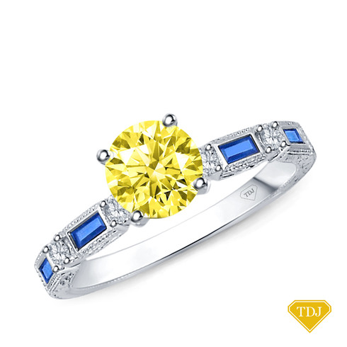 14K White Gold Baguette Sapphire and Round Diamond Accents Ring Yellow Sapphire Top View