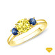 14K White Gold Baguette Side Stones Diamond Engagement Ring Yellow Sapphire Finger View