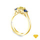 14K Yellow Gold Baguette Side Stones Diamond Engagement Ring Yellow Sapphire Top View