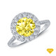 14K White Gold Pave Set Side and Halo Accents Engagement Ring Yellow Sapphire Top View