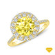 14K White Gold Antique Scroll Design Diamond Engagement Ring Yellow Sapphire Finger View